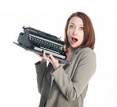Funny Business Woman With Vintage Typewriter Isolated On White Background