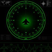 picture of fighter plane  - Radar screen with compass surrounding jet fighter - JPG
