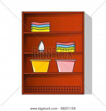 Vector Linen Cupboard, Wardrobe With Clothes