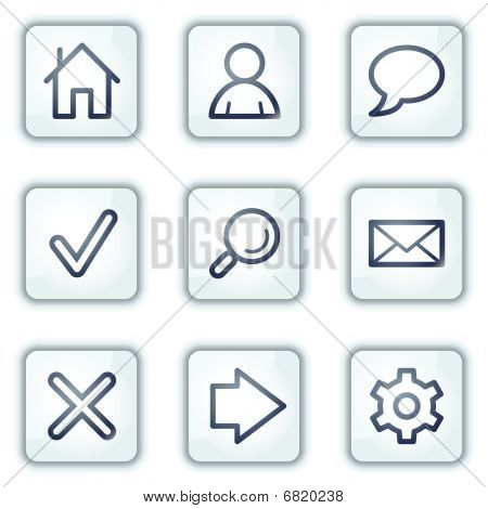 Basic web icons, white square buttons series