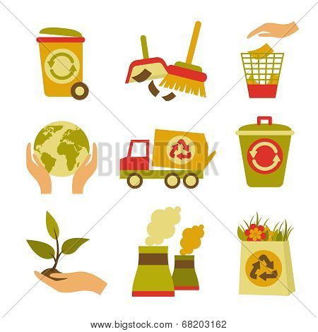 Ecology and Waste Icon Set
