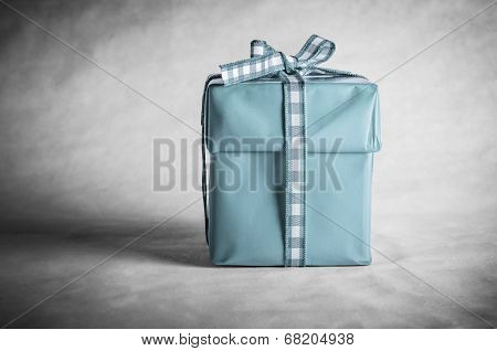 Blue Gift Box Tied With Bow