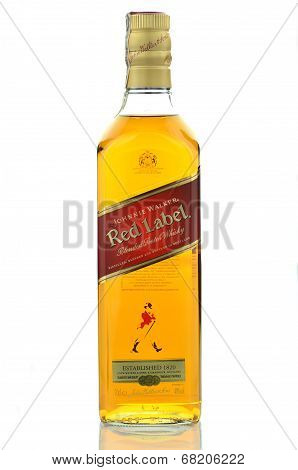 Johnnie Walker Red Label blended whisky isolated on white background