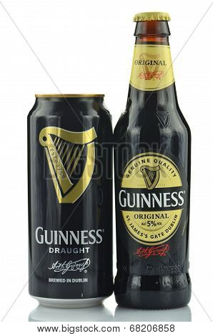 Guinness dry stout beer isolated on white background.