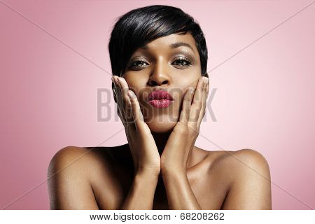 Black Woman Sending Kiss