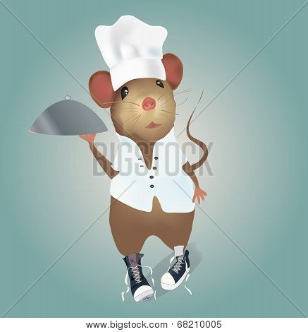 Mouse Chef with Hat and Plate