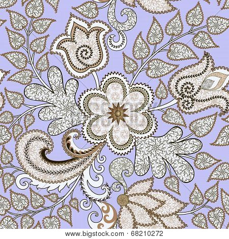 seamless pattern with openwork flowers and leaves