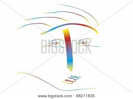 Abstract Portrait On White Background