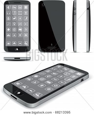 Black Smart Phone 3D and Conventional Views