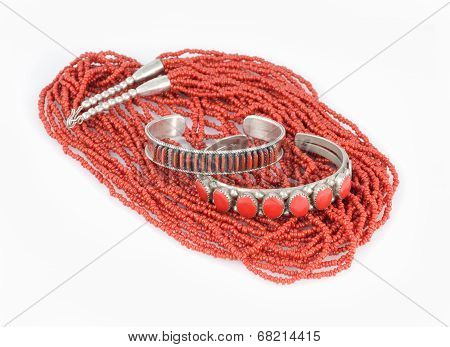 Coral and Silver Bracelets with Bead Necklace.