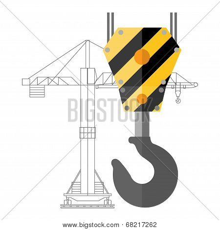 Crane hook icon or sign, vector illustration