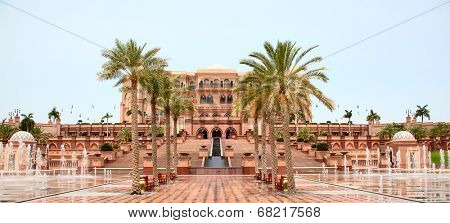 ABU DHABI, UAE - APRIL 27: Emirates Palace hotel facade on April 27, 2014, UAE. Seven stars Emirates Palace is the second most expensive hotel ever built for about 6 billion USD.