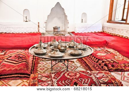 GJIROKASTER, ALBANIA-JUNE 7, 2014 : Inside traditional Albanian house on June 7,2014 in Gjirokaster, Albania.