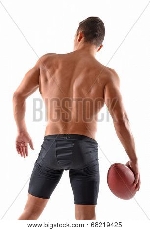 Rear view from a shirtless rugby player on white background.