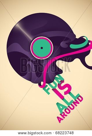 Abstract poster with vinyl. Vector illustration.