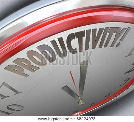 Productivity word on a clock to increase efficiency of output and get more done in less time