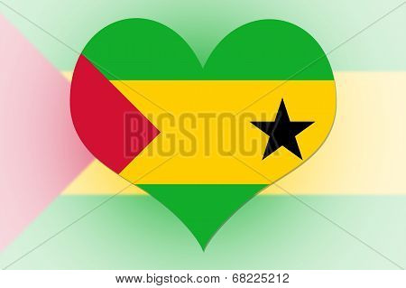 Sao Tome And Principe Flag Heart