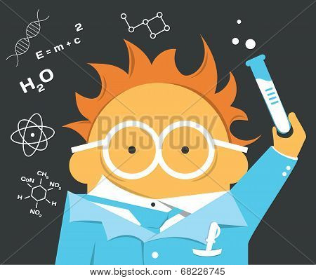 Crazy scientist in glasses with a bulb