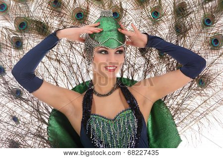 Burlesque Dancer With Peacock Feathers And Green Dress