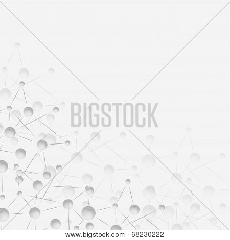 Molecule structure, gray vector illustration background