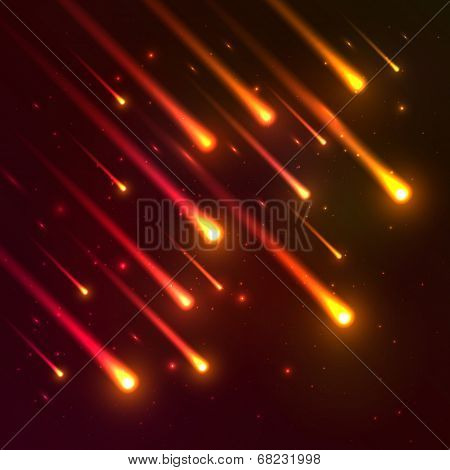 Red falling meteors vector background