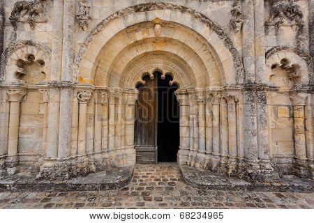 Full View Main Door Of Petit Palais Et Cornemp Romanesque Church, Gironde France