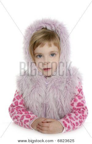 Pink Fur Hood Coat Little Girl Portrait