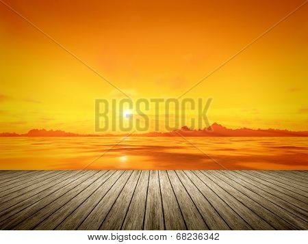 An image of a beautiful golden sunset over the ocean