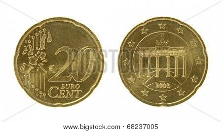 Twenty eurocents coin macro isolated on white
