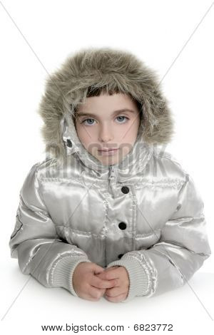 Silver Fur Hood Winter Coat Little Girl