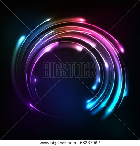 Shining rainbow neon lights circle frame