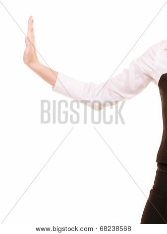 Hand Of Businesswoman Pushing Away Blank Copy Space