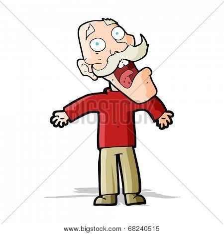 cartoon terrified old man