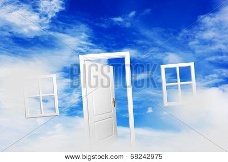Open door and windows on fluffy clouds, blue sky. Concepts like new home, dream, hope, real estate.