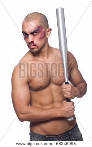 Ripped man with baseball bat on white