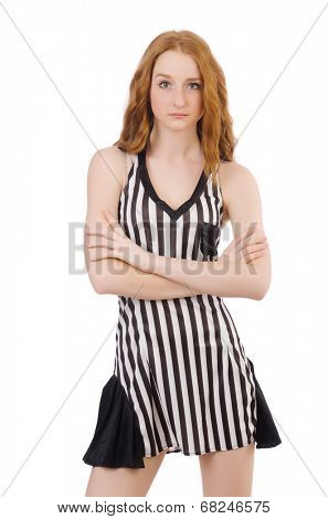 Woman judge isolated on the white