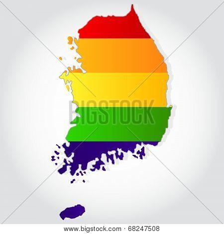 Rainbow Flag In Contour Of South Korea