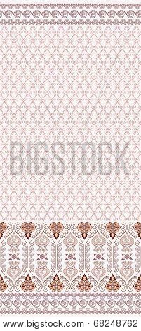 Seamless Abstract Pattern With Wide Border In Pastel Brown Colors