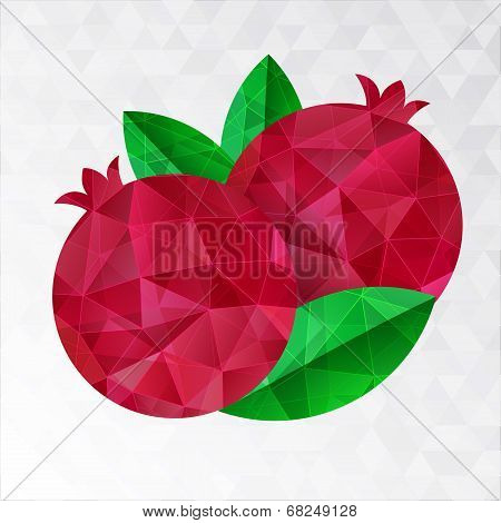 Two Pomegranates, Vector Illustration.