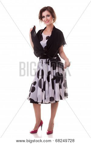 Woman In Balck And White Dress And Dots