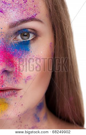 Young Woman Fashion Make Up And Color Powder On Face