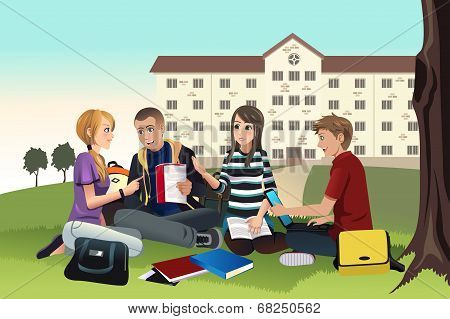 College Students Studying Outdoor
