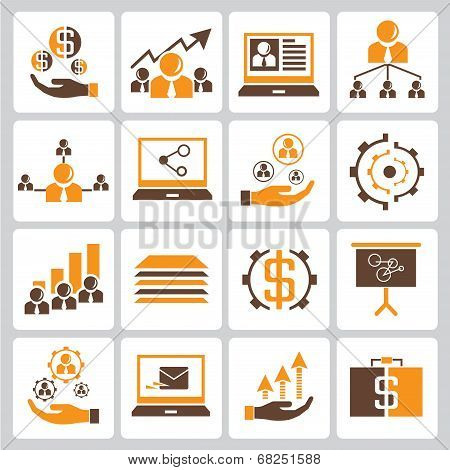 human resource, business management icons, orange color theme