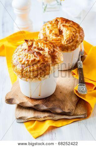 Individual Mushroom pot pie with puff pastry crust