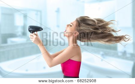 Woman Drying Hair