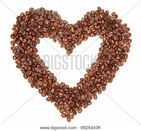 Coffee Beans In A Shape Of Hearth