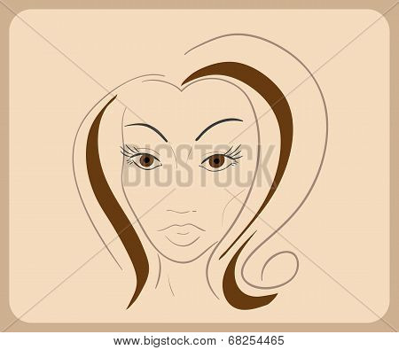 Handdrawn woman face with sensual eyes and brown hair. close-up illustration - paths outlined