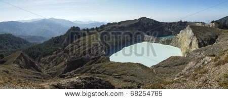 Multicolored Volcanic Lakes View