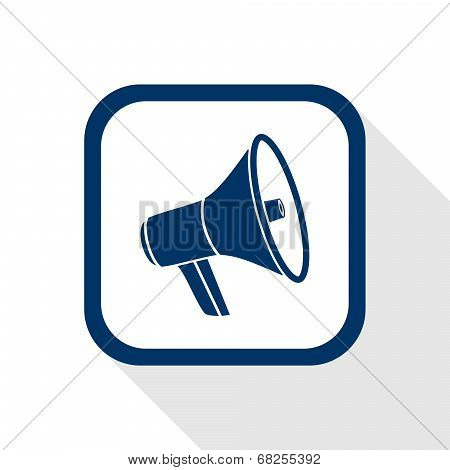Square Blue Icon Megaphone