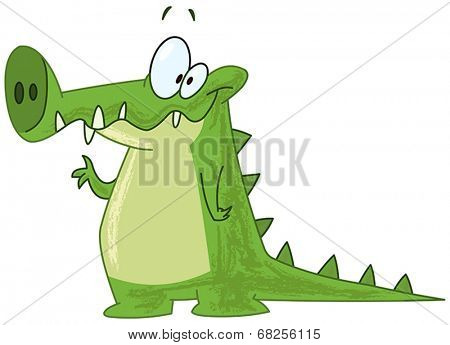 Smiling crocodile alligator waving with his hand